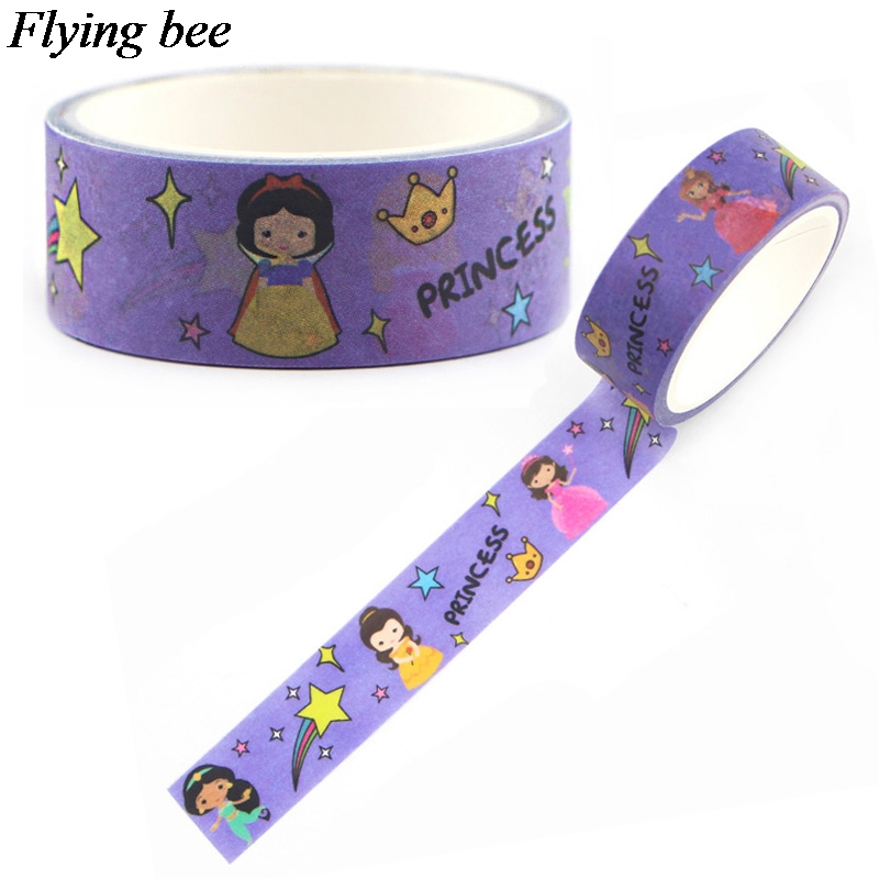 Flyingbee 15mmX5m Princess Girls Washi Tape Paper DIY Decorative Adhesive Tape Stationery Cartoon Masking Tapes Supplies X0588