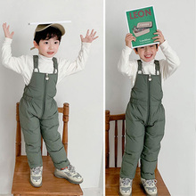 Winter Warm Overalls Girls & Boys Thick Pants Cotton Filling Kids Baby Clothes For 1-5 Year