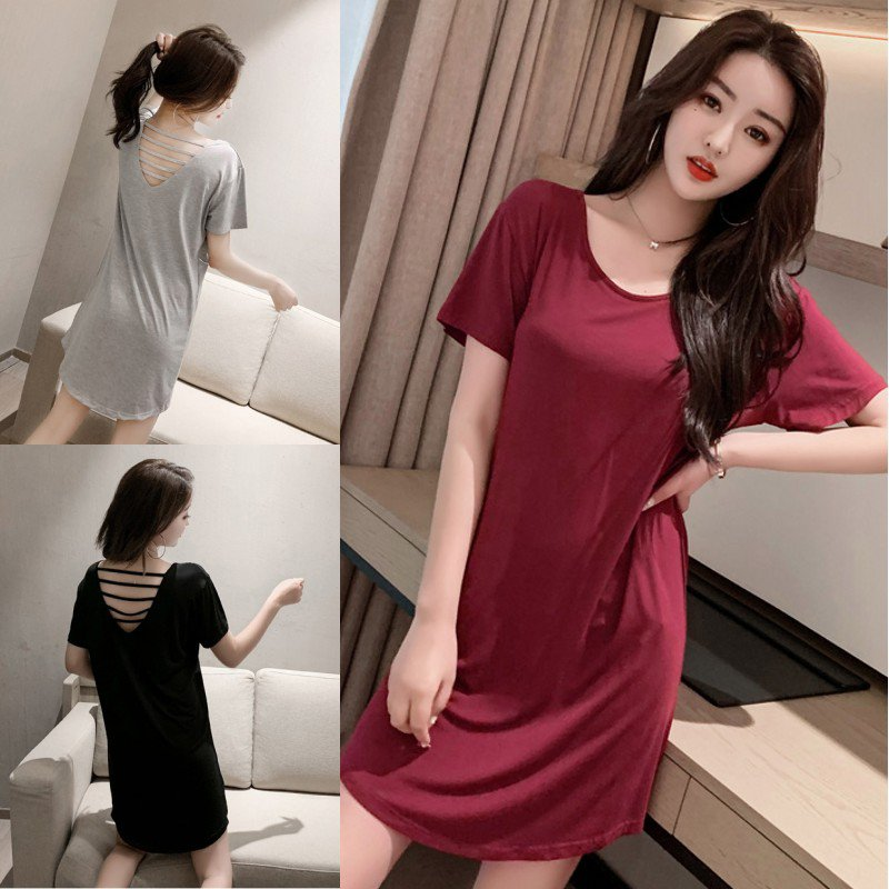 2019 Large Size Modal Cotton Short-sleeved Halter Loose Casual Nightdress O Collar Solid Color Ladies Nightdress