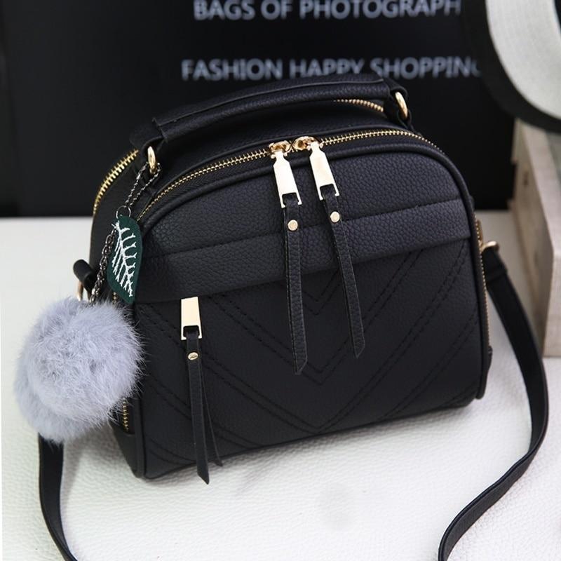بولي Leather حقيبة يد جلدية للنساء فتاة الموضة شرابة حقيبة ساع مع الكرة بولسا حقائب كتف الإناث السيدات الطرف Crossby حقيبة