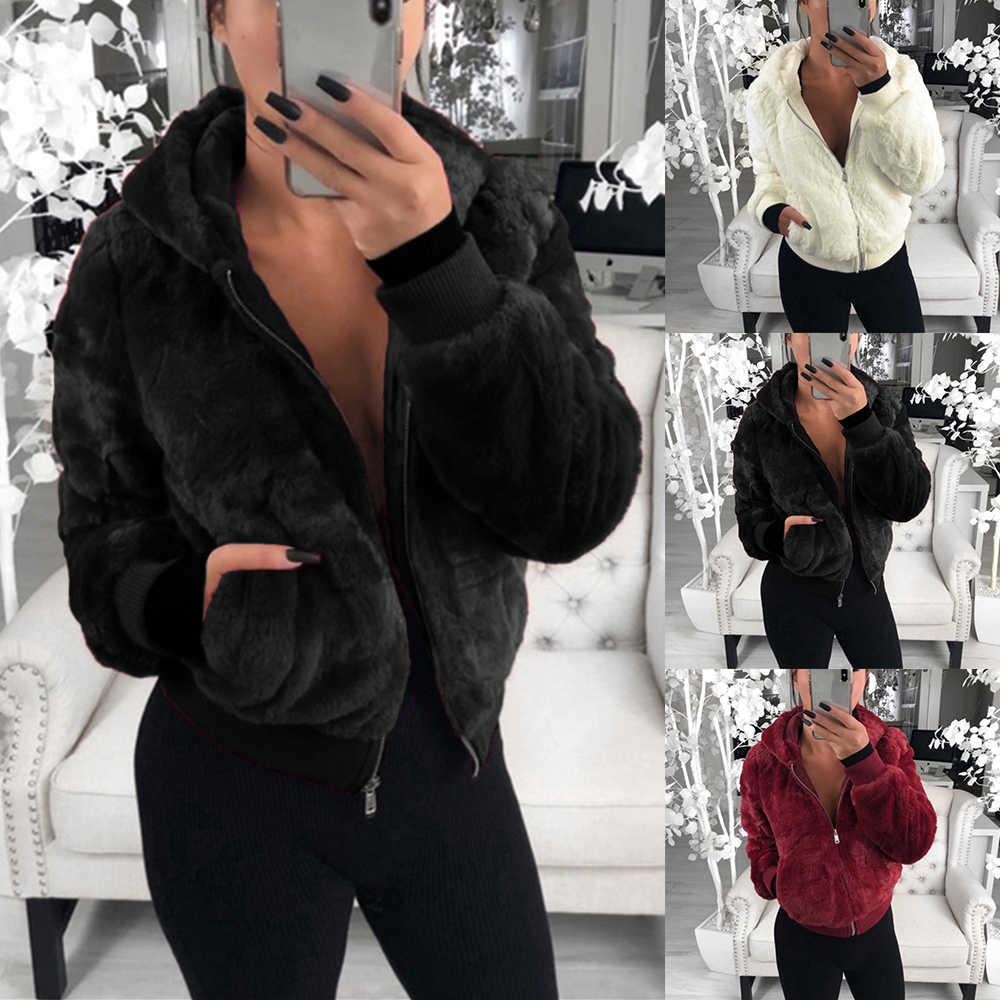 WENYUJH 2019 новая зимняя верхняя одежда из искусственного лисьего меха негабаритный женский кардиган на молнии с длинным рукавом Повседневная куртка Женское пальто