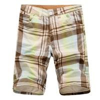 Nice Tide Vogue Summer Plaid Thin Casual Shorts Men Cargo Shorts Fashion Striped Plaid Solid Straight Beach Shorts 9 Colors