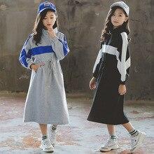 Baby Girls Dress Autumn New 2020 Children Cotton Dress Two Colors Patchwork Long Sleeve Toddler Sweatshirt Dress Leisure,#5309