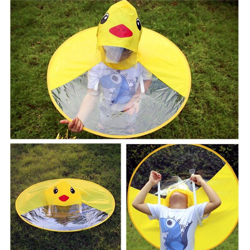 Cute Children's Raincoat Yellow Duck Rain Jacket Coat Kids Student Outdoor UFO Transparent Waterproof Cloak Children Umbrella