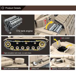 Image 4 - Military Heavy German Tank Building Blocks Technic No.3 Tank Bricks WW2 Army Police Soldier DIY Toys Gifts For Children 100067