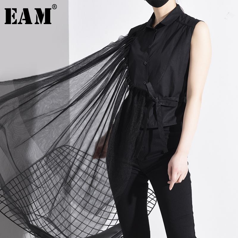 [EAM] Women Black Asymmetrical Mesh Bandage Blouse New Lapel Sleeveless Loose Fit Shirt Fashion Tide Spring Autumn 2020 JT87001