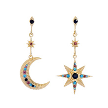 2019 Star Moon Crystal Earrings Gold Color Zinc Alloy Fashion Asymmetric Women Jewelry Decoration