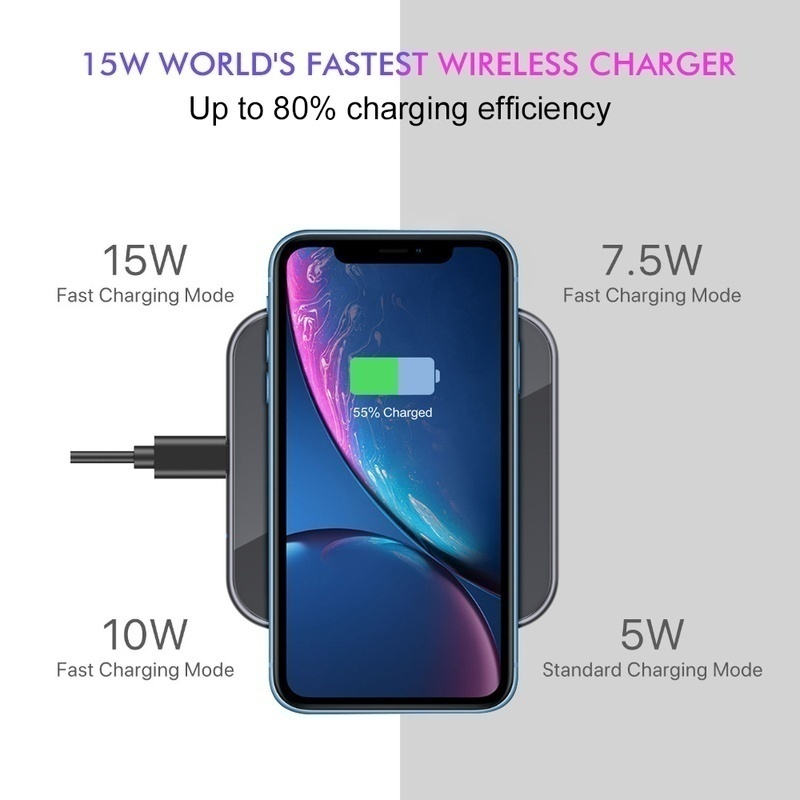15W QI Wireless Charger Universal Quick Charging USB Fast Charger QC 3.0 Phone Charger Station For iphone 11 Samsung s9 Xiaomi 3