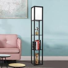 Светодиодный полочный торшер с деревянным каркасом, высокий свет с органайзером, полки для хранения-современная стоящая лампа для гостиной, спальни