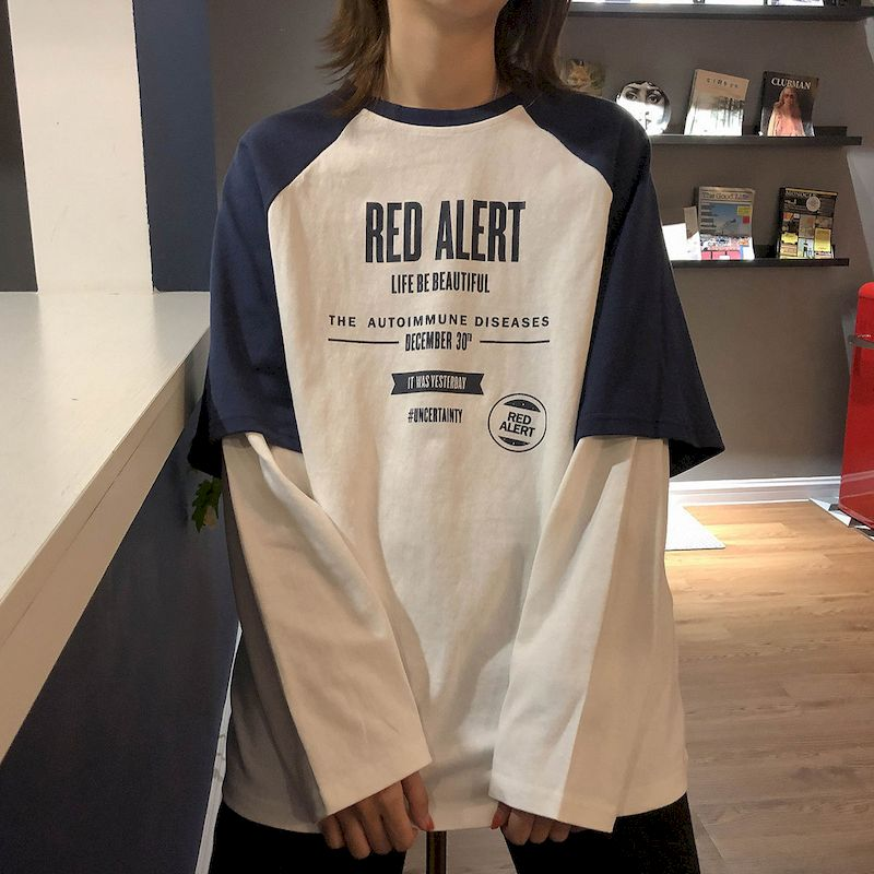 Новинка Весна 2021, футболка с длинным рукавом и имитацией двух частей, женские топы, свободная рубашка, повседневная Корейская свободная футболка в стиле Instagram Футболки      АлиЭкспресс