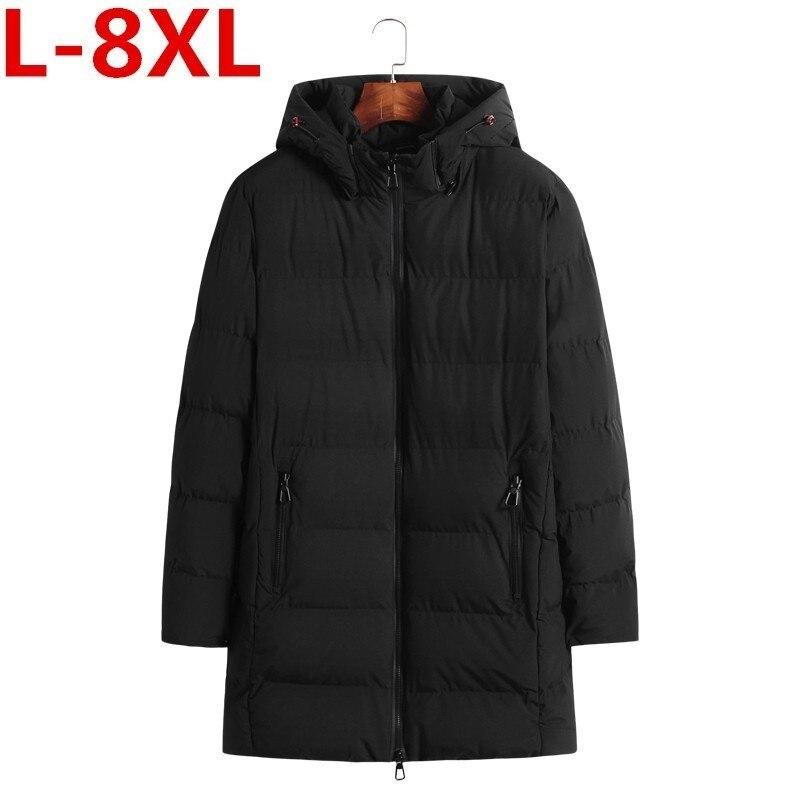 8XL 7XL 6XL Plus Size Winter Man Cotton-padded Clothes Keep Warm Loose Coat Fertilizer Enlarge  Fashion Cotton Detachable Cap