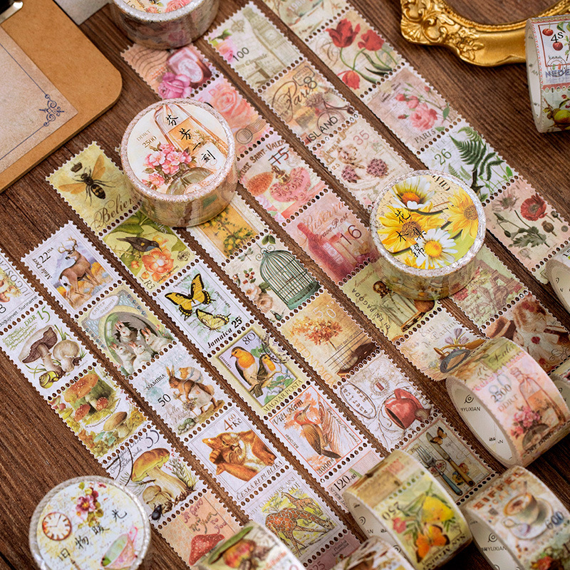 Retro Stamp Philately Series Bullet Journal Washi Tape Plant Mushroom Decorative Adhesive Tape DIY Scrapbooking Sticker Label