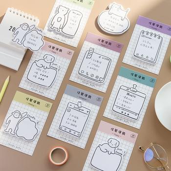 4 sztuk Doodle kartki samoprzylepne obroża dla kociaka pieska niedźwiedź Youtube Instagram klej Post Memo Planner Marker to notatnik szkoła biurowa F210 tanie i dobre opinie VALIOSOPA Dekoracji doodle memo pad Podkładki memo