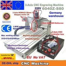 EU 船送料付加価値税 3 軸 CNC 6040 Z S80 1.5KW 1500 ワット Mach3 CNC ルータ彫刻彫刻フライス切断機 220V LPT ポート