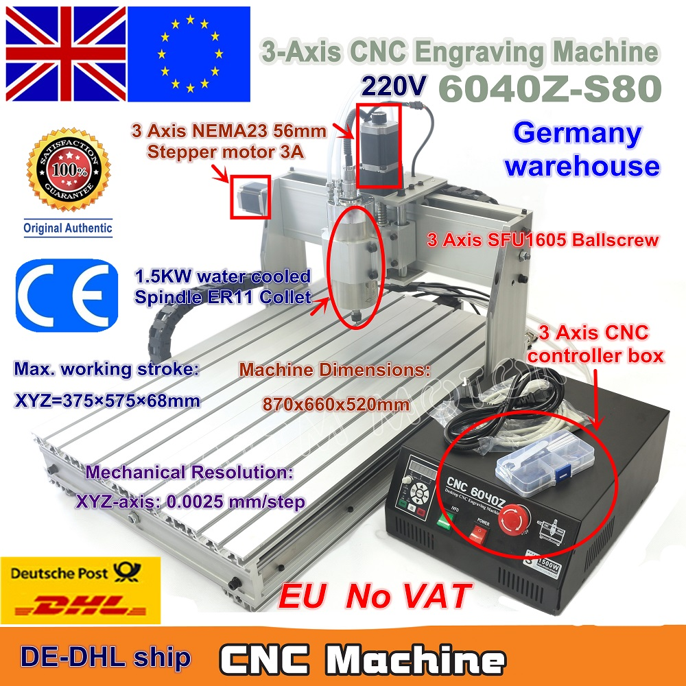 EU Ship Free VAT 3 Axis CNC 6040 Z-S80 1.5KW 1500W Mach3 CNC Router Engraver Engraving Milling Cutting Machine 220V LPT Port