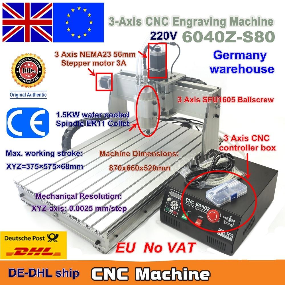 EU Ship Free VAT 3 Axis CNC 6040 Z-S80 1.5KW 1500W Mach3 CNC Router Engraver Engraving Milling Cutting Machine 220V LPT Port