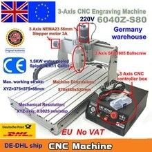 Eu Schip Gratis Btw 3 Axis Cnc 6040 Z S80 1.5KW 1500W Mach3 Cnc Router Graveur Gravure Frezen Snijmachine 220V Lpt poort