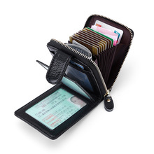 Genuine leather card wallet men Solid Short Male card holders Multi Function Women coin holder Small Purse For driver's license