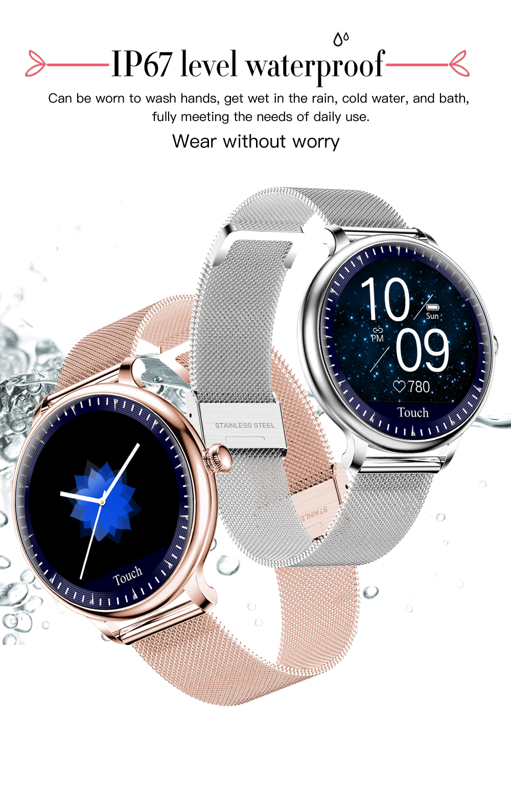 LEMFO NY12 Smart Watch Women Heart Rate Blood Pressure Physiological Monitor IP67 Waterproof 2.5D LCD Screen SmartWatch