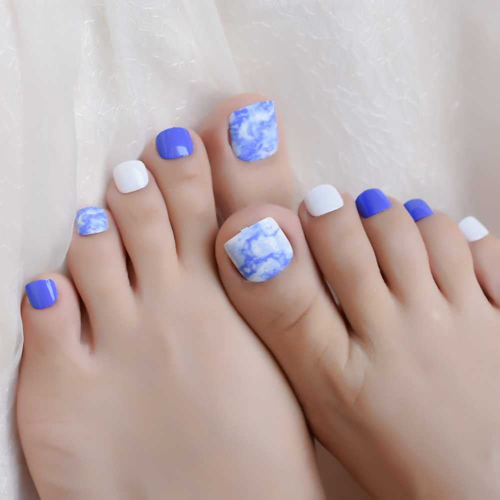Blue Ink Painting Pre Design False Toenail Tips 24PCS/Set White Full Cover Press on Fake Toe Nail Manicure Decoration Tool