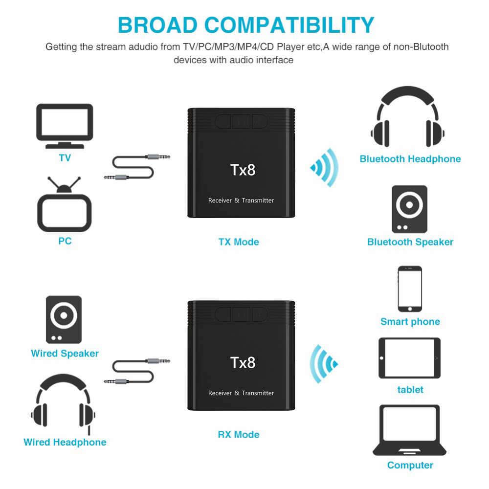 TX8 5.0 Bluetooth Receiver Transmitter dengan Tombol Kontrol Volume 2-In-1 Audio Nirkabel Adapter 3.5Mm AUX untuk Mobil TV PC