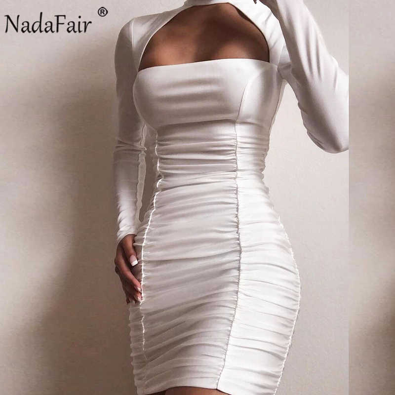 Nadafair לבן שחור אדום נשים מועדון סקסי Bodycon שמלת Ruched הלטר מיני מסיבת ארוך שרוול סתיו חורף שמלה