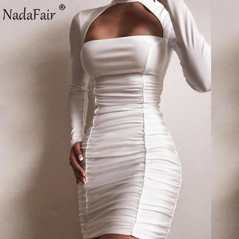Nadafair White Black Red Women Club Sexy Bodycon Dress Ruched Halter Mini Party Long Sleeve Autumn Winter Dress