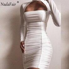 Nadafair White Black Red Women Club Sexy Bodycon Dress Ruche