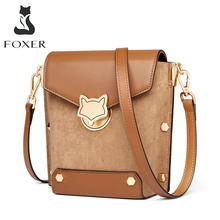 FOXER Vintage Lady Crossbody Phone Bags Large Capacity Split Leather Bucket Bag Shoulder Flip Bag Commute Small Messenger Bags