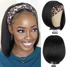 Isaic синтетические короткие прямые синтетические волосы парик с головной повязкой с боб парики для черный Для женщин 12 дюймов синтетический ...