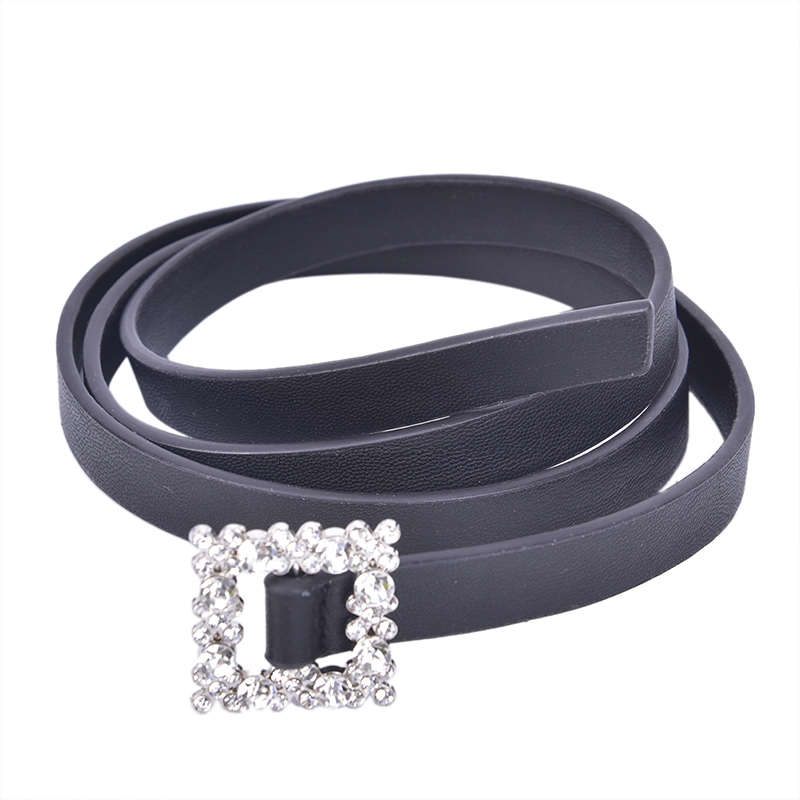 Women Black Leather Waist Belt Metal Buckle With Rhinestone Waistband Belts For Women Luxury Design
