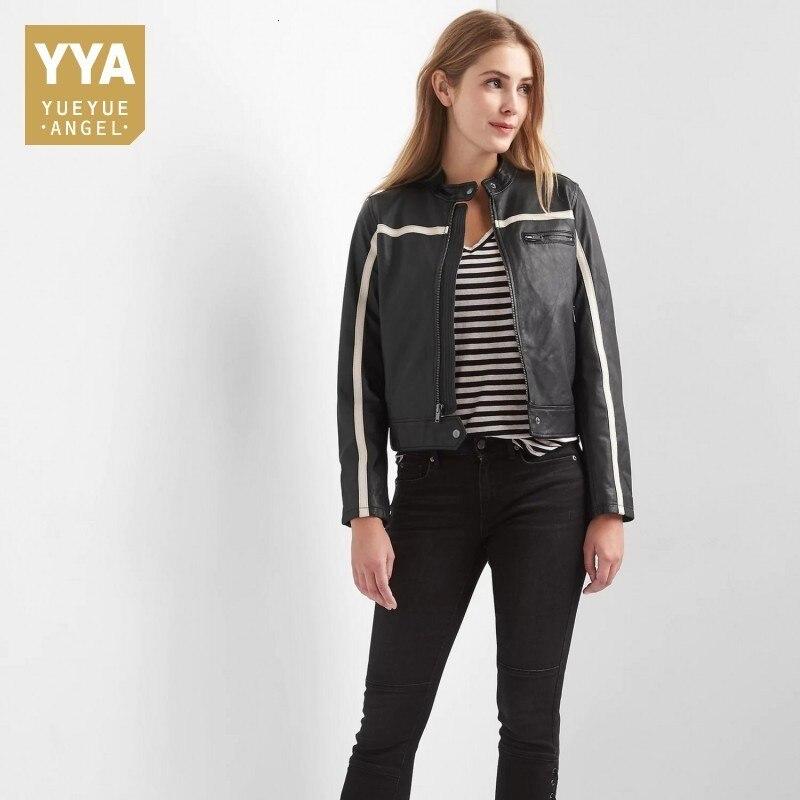 High Quality Luxury Womens Jacket Casual Pocket Zipper Genuine Leather Outerwear Streetwear Slim Fit Black Short Biker Jacket