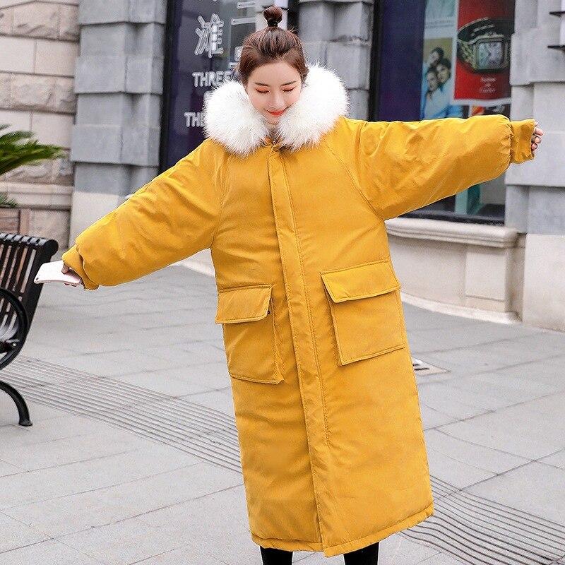 Famosa marca de alta calidad de tela de piel de melocotón sección larga de algodón de mujer sobre la rodilla engrosamiento holgado invierno abajo chaqueta de las mujeres - 2