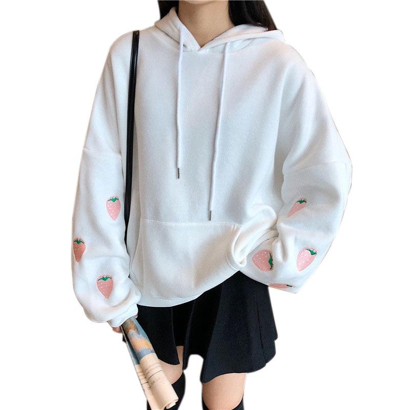 2020 Simple Harajuku Strawberry Embroidery Lavender Pink Sweatshirt Women Kawaii Loose Long Sleeves Tops Oversized Hoodies