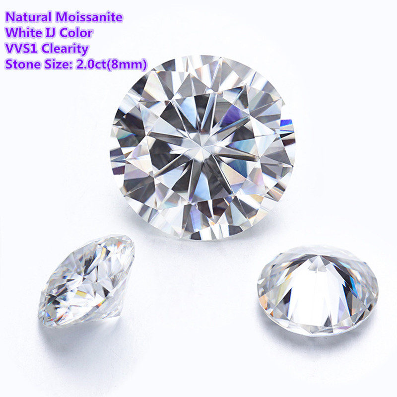 Moissanites Loose Stone IJ Color 2.0ct(8mm) Moissanite Round Brilliant Cut Diamond Rings Earrings Jewelry DIY Material