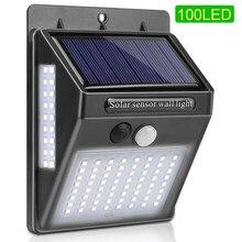 144 100 diodo emissor de luz solar ao ar livre luz solar lâmpada luz de rua para jardim decoração pir sensor de movimento movido a energia solar