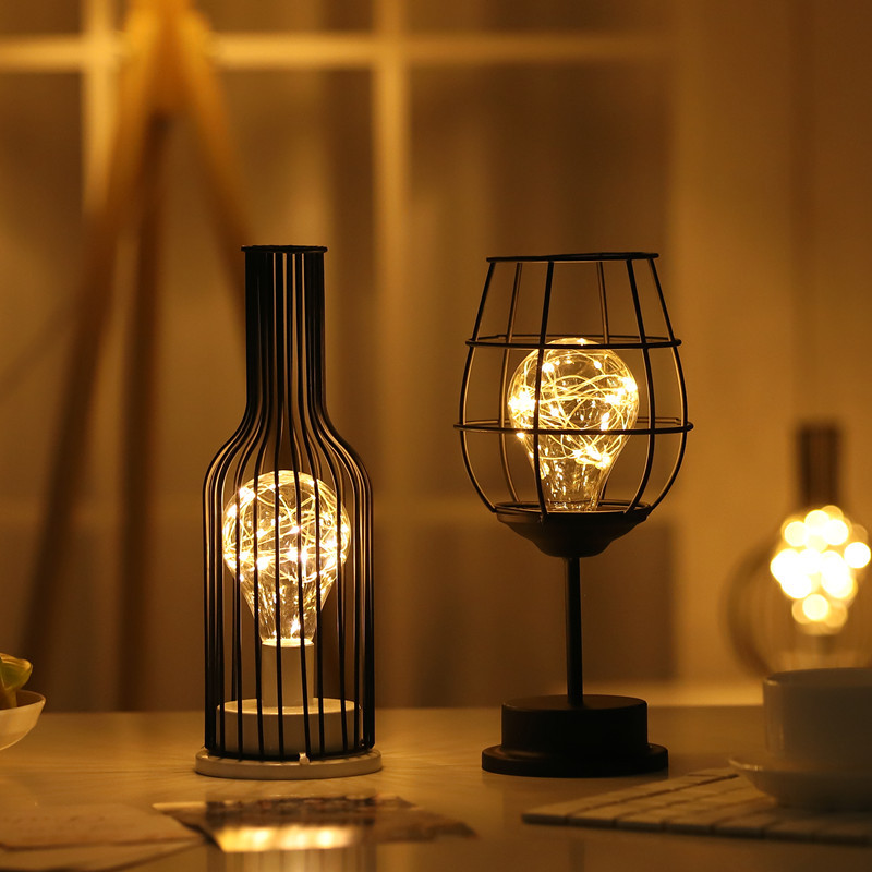 Nordic Wrought Iron Decorative Lamp Red Wine Glass Bottle Lamp Copper Led Nightlight Christmas Lights Indoor