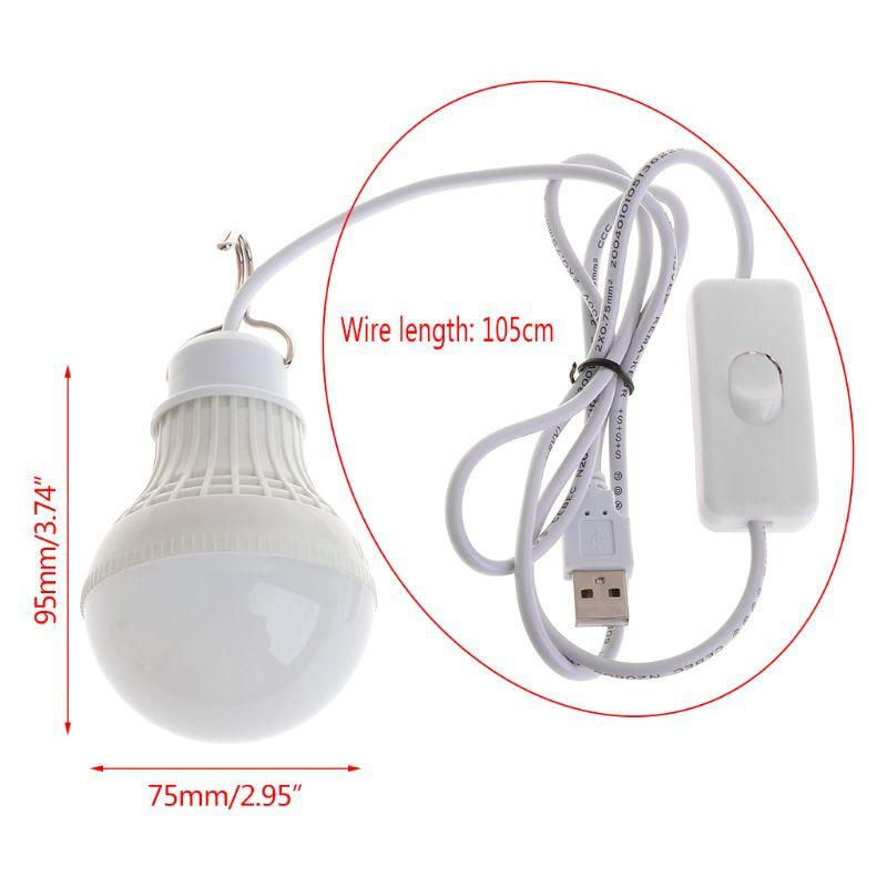 Drop Shipping 5W 10 LED Energy Saving USB Bulb Light Camping Home Night Lamp Hook Switch