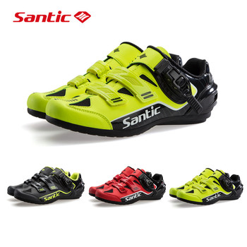 Santic Cycling Sport Shoes No-Lock Non-Slip Riding Bicycle Shoes MTB Road Bike Professional Competition Athletic Racing Sneakers