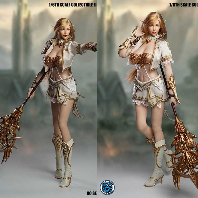 SUPER kaczka w SET043 1/6 cosplay raju 2 wróżka Elf głowy rzeźba kostium dla 12-cal kobieta lalki w magazynie
