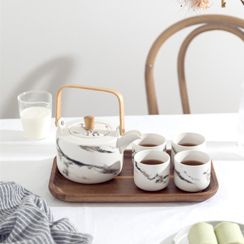 Juego De té y tetera De cerámica con diseño De mármol Phnom...