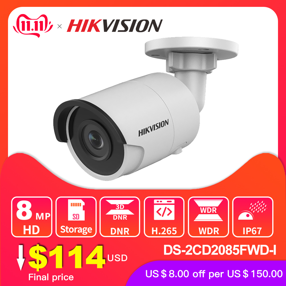 Hikvision Original DS 2CD2085FWD I 8MP IR Fixed Bullet IP Camera POE CCTV Network dome security camera IP67 IR30 3D DNR-in Surveillance Cameras from Security & Protection