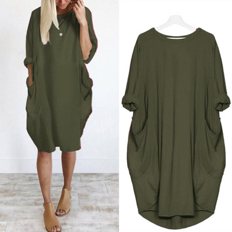 Women Oversized Dresses Long Sleeve Solid Tunic Dress Plus Size Pullover Shirt Dress Baggy Pockets Midi Dress S-5XL