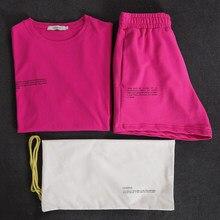 Survêtements d'été pour femmes, ensemble deux pièces, tenues de loisirs, T-shirts 100% coton, Shorts taille haute, vêtements couleur bonbon