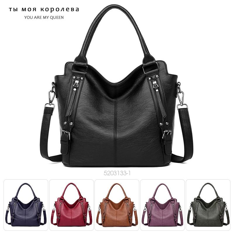 Large Capacity Women Handbag Multifunction Vintage Female Messenger Bag 2020 Designer PU Leather Shoulder Bag Top-handle Bags