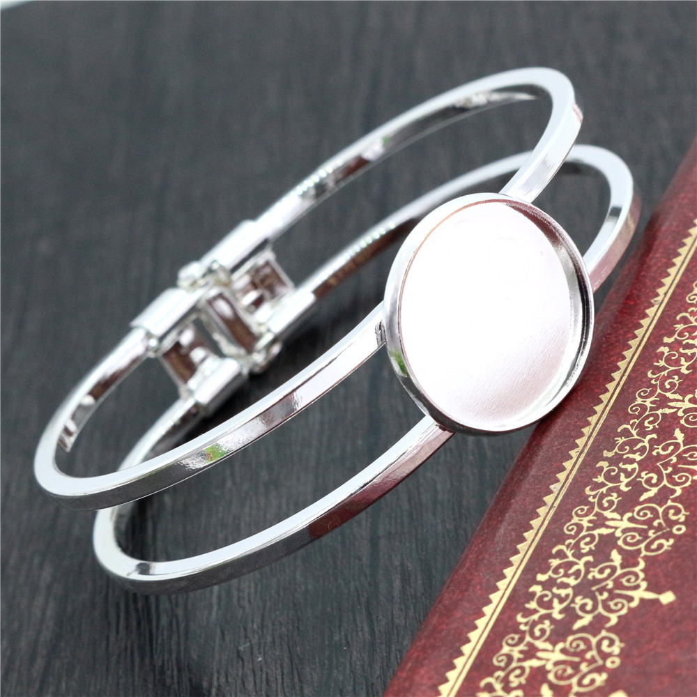 High Quality  20mm Silver Plated Bangle Base Bracelet Blank Findings Tray Bezel Setting Cabochon Cameo  (L6-21)