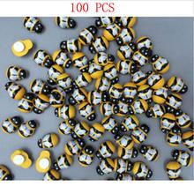 100 pçs de madeira 3d arte animal abelha adesivos geladeira parede decorativa 13mmx10mm