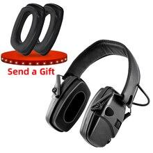 전자 슈팅 귀마개 야외 스포츠 소음 방지 증폭 전술 사냥 청력 보호 헤드폰 foldable
