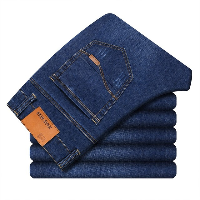 New Men's Slim Elastic Jeans Fashion    3