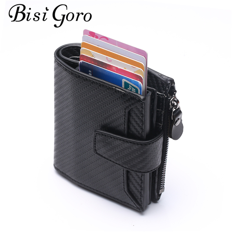 BISI GORO RFID 2019 Wallet Business Credit Card Holders Automatic Card Set Vintage Aluminum Wallet New Vintage Cion Holder
